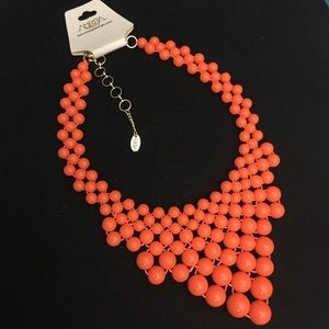 Vibrant neon orange Amrita Singh necklace